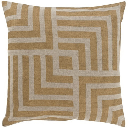 "22"" Gold and Tan Geometric Square Throw Pillow - Down Filler - IMAGE 1"