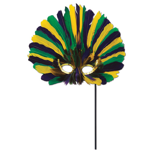 Club Pack of 12 Festive Green, Golden-Yellow and Purple Feathered Mardi Gras Masquerade Masks - IMAGE 1