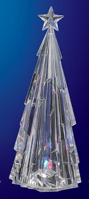 "Set of 2 Icy Clear Modern LED Lighted Decorative Christmas Tree Figurines 13"" - IMAGE 1"