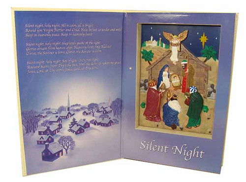 "12"" Blue and White Animated Musical 'Silent Night' Nativity Book Style Musical Decor - IMAGE 1"
