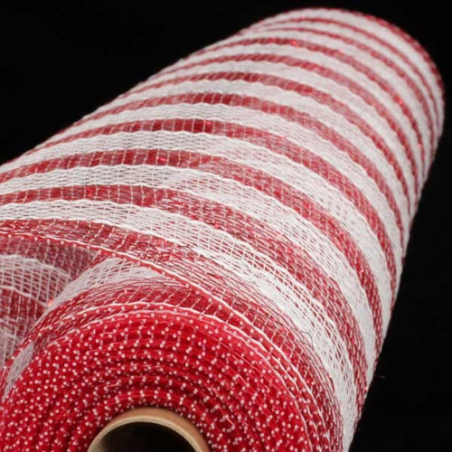 "Red, White and Silver Striped Deco Mesh Craft Ribbon 21"" x 20 Yards - IMAGE 1"