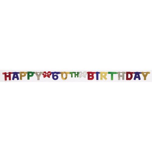"""Club Pack of 12 Vibrantly Colored Happy 60th Birthday Small Party Banners 75"""" - IMAGE 1"""