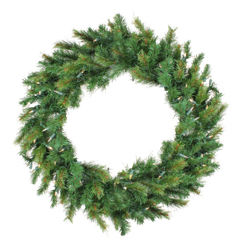 Pre-Lit Jack Pine Artificial Christmas Wreath - 36-Inch, Clear LED Lights - IMAGE 1