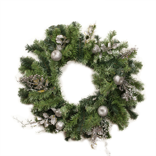 Silver Fruit and Leaf Artificial Christmas Wreath - 24-Inch, Unlit - IMAGE 1