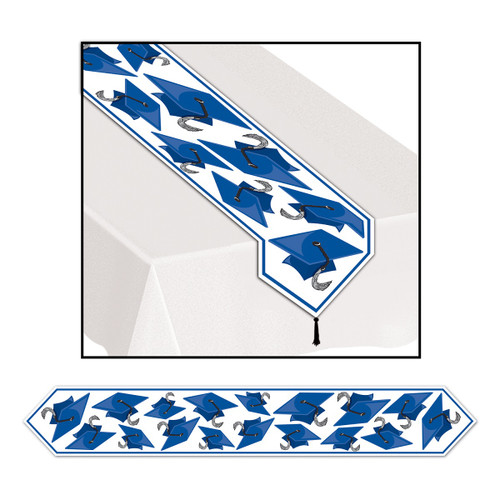 Club Pack of 12 Blue Celebration Grad Cap Table Runner 6' - IMAGE 1