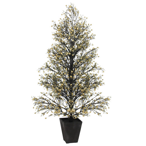 4.25' Gold and Black Glittered Berry Artificial Christmas Topiary Tree - Unlit - IMAGE 1