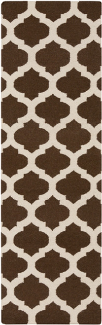 2.5' x 8' Chocolate Brown and Beige Abstract Hand Woven Rectangular Area Throw Rug Runner - IMAGE 1