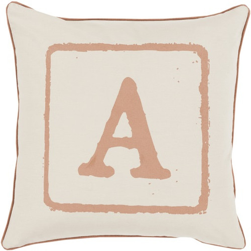 "22"" Beige and Brown ""A"" Square Throw Pillow - Down Filler - IMAGE 1"