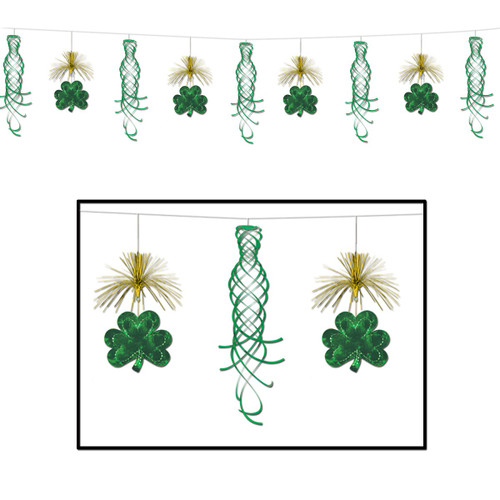 Club Pack of 12 Shamrock Shimmer Pennant St. Patrick's Day Hanging Garland Decorations 10' - IMAGE 1