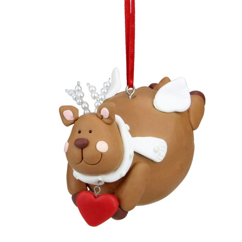 "4"" Whimsical Brown Reindeer Angel Christmas Ornament - IMAGE 1"