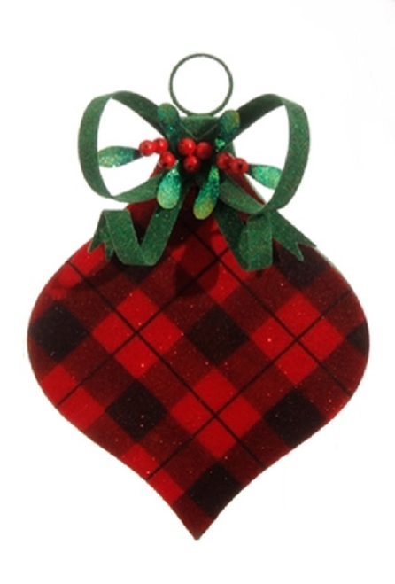 """11.5"""" Red and Black Plaid Onion Finial Christmas Ornament - IMAGE 1"""