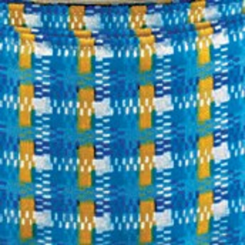 """Blue and Yellow Checkered Wired Craft Ribbon 2"""" x 20 Yards - IMAGE 1"""