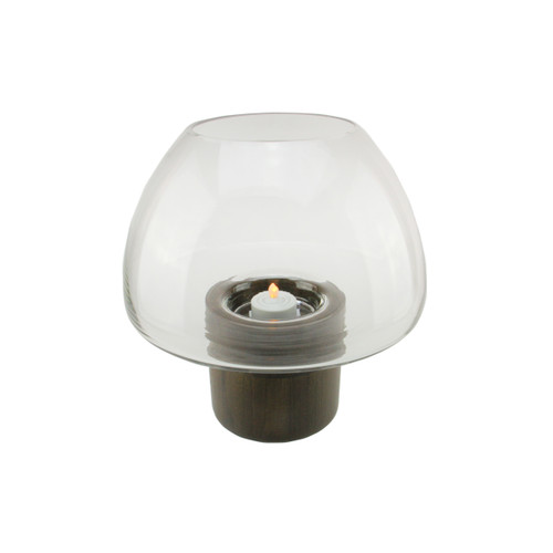 "9.75"" Transparent Glass Pillar Candle Holder with Wooden Base - IMAGE 1"