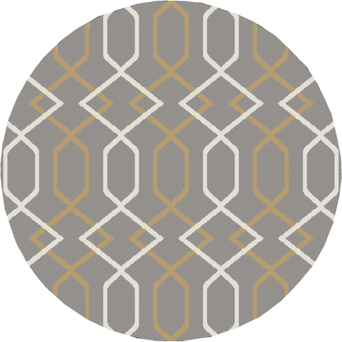 7.8' Entwine Passions Gray and Cream White Round Area Throw Rug - IMAGE 1