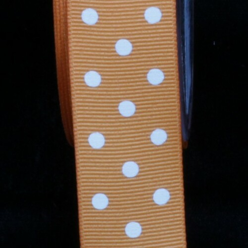 "Orange and White Polka Dotted Grosgrain Craft Ribbon 1"" x 88 Yards - IMAGE 1"