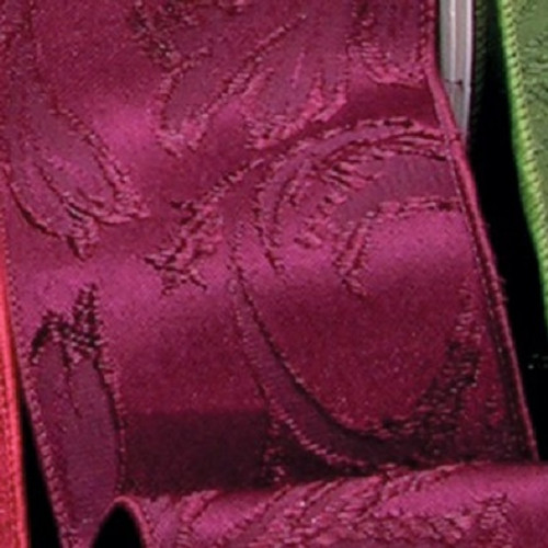 """Burgundy Red Floral Wire Edged Craft Ribbon 4"""" x 40 Yards - IMAGE 1"""