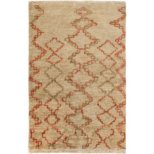 9' x 13' Tribal Lineage Beige and Brown Hand Knotted Rectangular Jute Area Throw Rug - IMAGE 1
