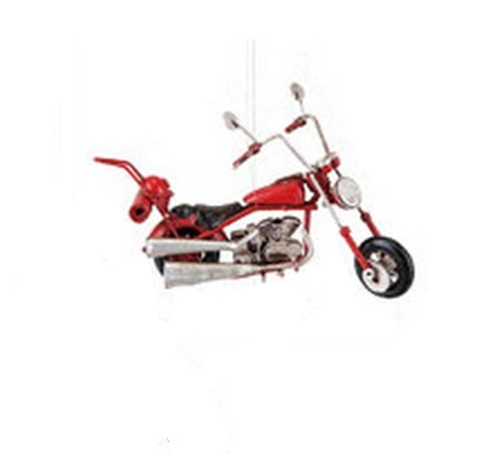 """4.75"""" Decorative Red and Black Chopper Motorcycle Christmas Ornament - IMAGE 1"""