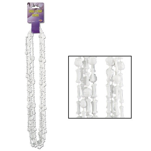 """Club Pack of 12 White Skull and Bone Beaded Halloween Necklaces Costume Accessory 33"""" - IMAGE 1"""