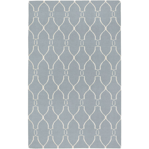 3.5' x 5.5' Gray and Beige Damask Hand Tufted Wool Area Throw Rug - IMAGE 1
