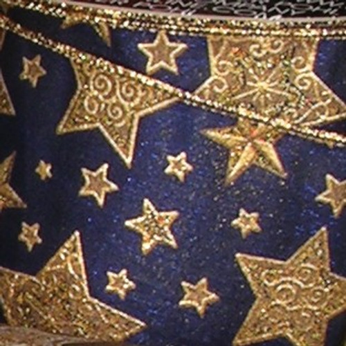 """Navy Blue and Gold Star Print Wired Craft Ribbon 5"""" x 20 Yards - IMAGE 1"""