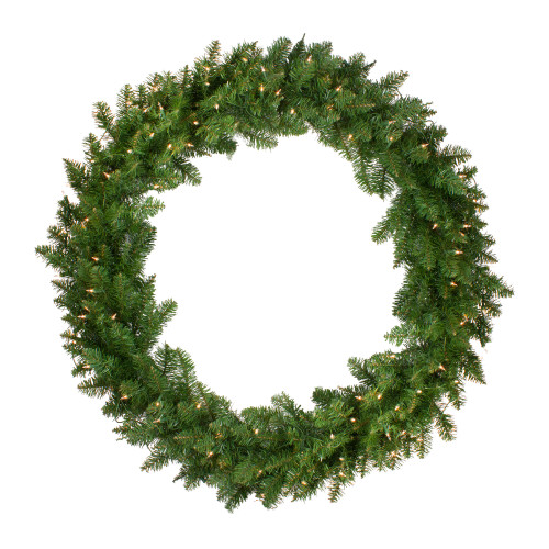 Pre-Lit Eastern Pine Artificial Christmas Wreath - 48-Inch, Clear Lights - IMAGE 1