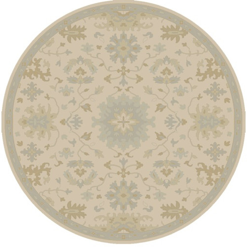 8' Gray and Green Traditional Hand Tufted Round Area Throw Rug - IMAGE 1