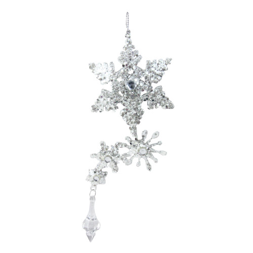 """7.75"""" Silver Glittered and Jeweled Snowflake Cluster Christmas Ornament - IMAGE 1"""