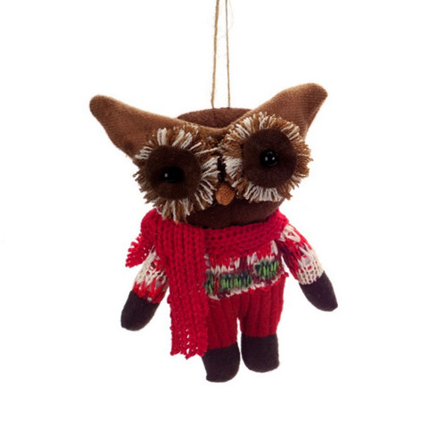 """6.5"""" Red and Brown Plush Woodland Owl with Knit Clothing Christmas Ornament - IMAGE 1"""