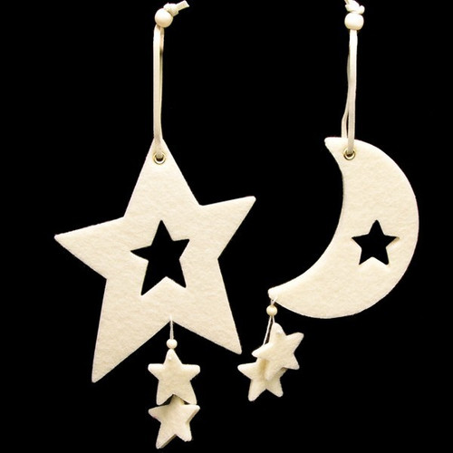 Club Pack of 18 Ivory Colored Large Moon &  Star Felt Ornaments - IMAGE 1
