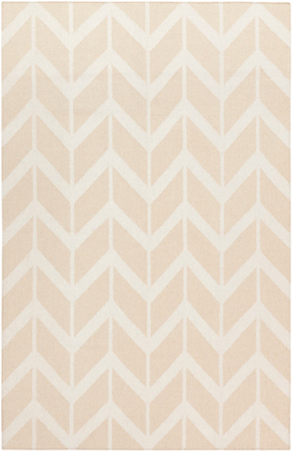3.5' X 5.5' Chevron Pathway Beige and White Hand Woven Rectangular Wool Area Throw Rug - IMAGE 1