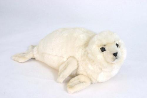 "Set of 2 White Handcrafted Soft Plush Seal Stuffed Animals 25"" - IMAGE 1"