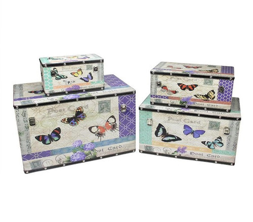 """Set of 4 Wooden Garden-Style Butterfly Decorative Storage Boxes 14-27.5"""" - IMAGE 1"""