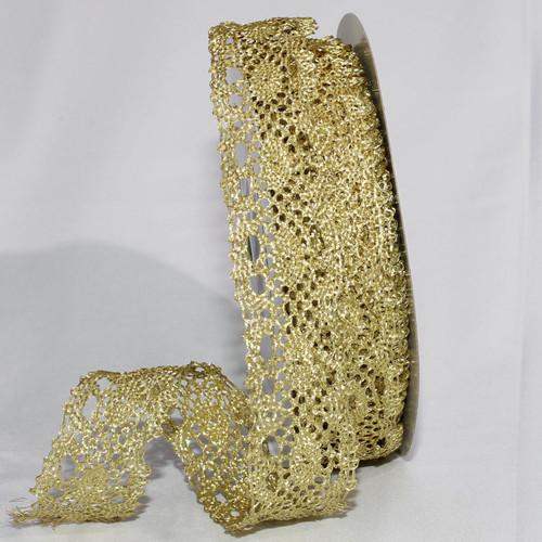 "Shimmering Gold Metallic Lace Craft Ribbon 1.25"" x 20 Yards - IMAGE 1"