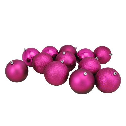 "12ct Pink Shatterproof 4-Finish Christmas Ball Ornaments 4"" (100mm) - IMAGE 1"