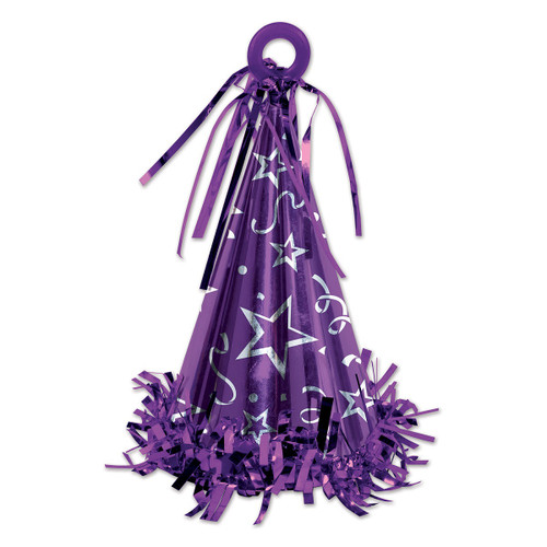 Club Pack of 12 Purple Party Hat Balloon Weight Decorative Birthday Centerpieces 6 oz. - IMAGE 1