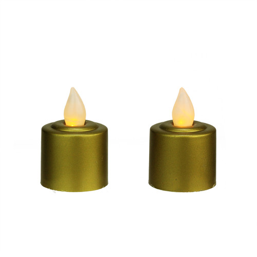 """Pack of 2 Gold Battery Operated LED Flickering Amber Lighted Christmas Votive Candles 2.25"""" - IMAGE 1"""