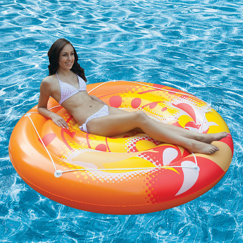 """71"""" Inflatable Orange and Yellow Swirled Dolphin Pattern Pool Raft - IMAGE 1"""