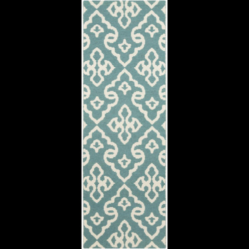 2.5' x 8' Blue and White Reversible Area Throw Rug Runner - IMAGE 1