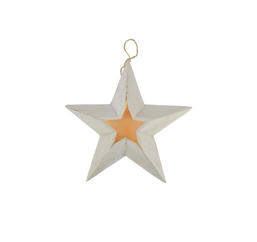 """11.5"""" Pre-Lit Battery Operated Warm Clear LED Country Rustic White Wooden Star Christmas Decoration - IMAGE 1"""