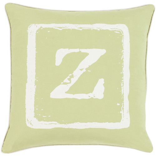 "22"" Green and White ""Z"" Big Kid Blocks Throw Pillow - Down Filler - IMAGE 1"