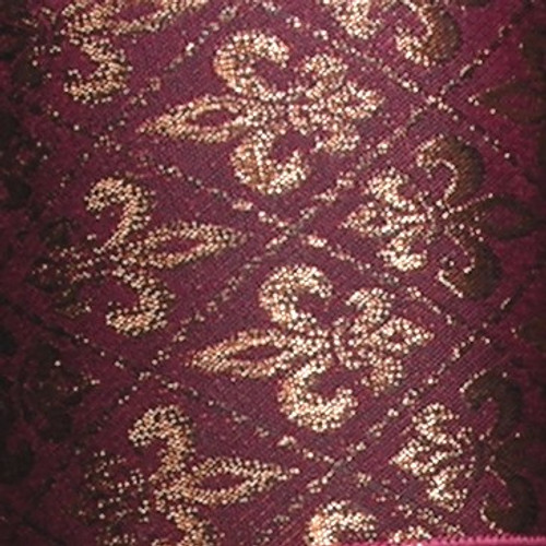 """Metallic Burgundy Red and Gold Fleur De Lis Wired Craft Ribbon 2.5"""" x 20 Yards - IMAGE 1"""
