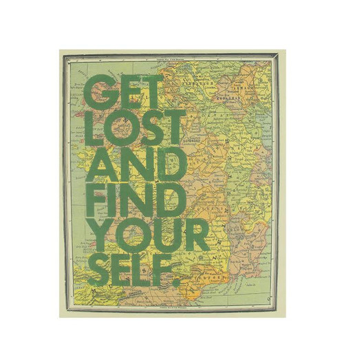 "12"" Inspirational Quote ""Get Lost And Find Your Self"" Colorful Framed Atlas Map Hanging Wall Art - IMAGE 1"