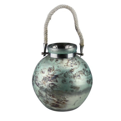 """14.5"""" Green and Black Seaside Treasures Glass Hurricane with Rope Handle - IMAGE 1"""