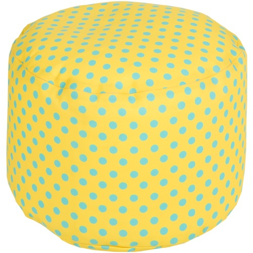 "20"" Squash Yellow and Light Gray Simply Polka Dot Round Outdoor Patio Pouf Ottoman - IMAGE 1"