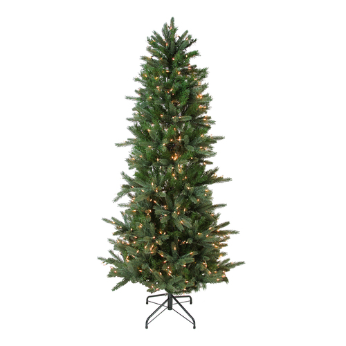 7.5' Pre-Lit Slim Vermont Fir Green Instant Shape Artificial Christmas Tree - Clear Dura-Lit Lights - IMAGE 1