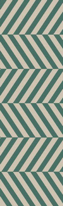 2.5' x 8' Herringbone Green and Gray Hand Woven Wool Area Throw Rug Runner - IMAGE 1