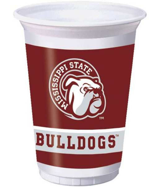 """Club Pack of 96 White and Brown NCAA Mississippi State """"Bulldogs"""" Drinking Tailgate Party Cups 7"""" - IMAGE 1"""