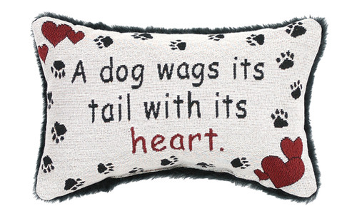 "12.5"" White and Red Doggy Love Paw Printed Rectangular Throw Pillow - IMAGE 1"