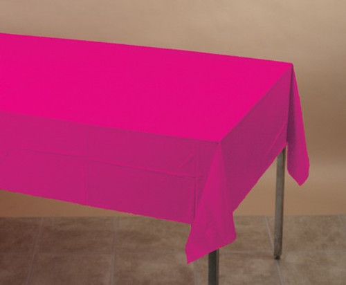 Club Pack of 12 Hot Magenta Pink Disposable Banquet Party Table Cloth Covers 108' - IMAGE 1